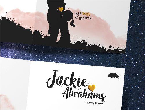 geboortekaartje Jackie Abrahams