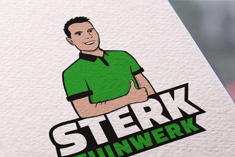Sterk Tuinwerk logo op papier